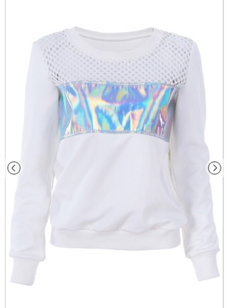 sweater romwe white print holographic holography print romwe pullover top mesh silver holographic top white top cyber cyberpunk vaporwave tumblr tumblr aesthetic aesthetic futuristic sweatshirt holographic sweatshirt silver sweatshirt white sweater mesh sweatshirt
