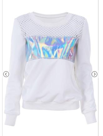 top mesh holographic silver holographic top white white top cyber cyberpunk vaporwave tumblr tumblr aesthetic aesthetic futuristic sweatshirt holographic sweatshirt silver sweatshirt white sweater mesh sweatshirt