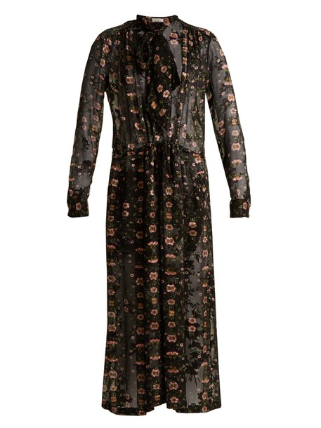 PREEN BY THORNTON BREGAZZI dress midi dress chiffon midi floral print silk black