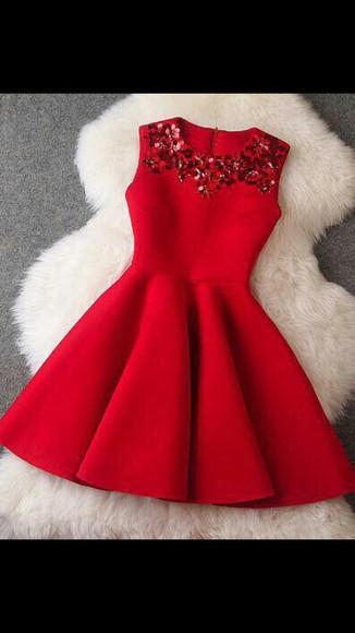 red dress dress sequins