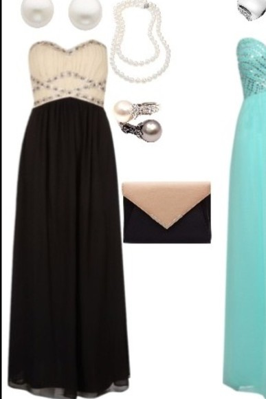 dress long dress prom dress black and white strapless flowy sweatheart neckline embroidered