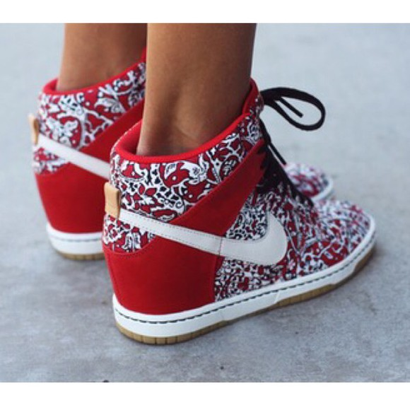 red shoes style cute shoes fashion high heels wedges red nike swag cute high heels white sneakers sneaker wedges