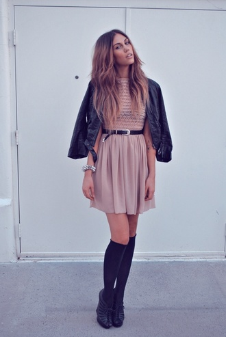 socks pink dress leather jacket black and gold belt knee high socks black boots blogger