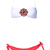 White Jeweled Bandeau Top with Coral Frill Bottom Bikini - Sheinside.com