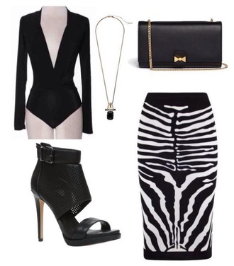 skirt bodysuit zebra striped skirt stripes blackand white top