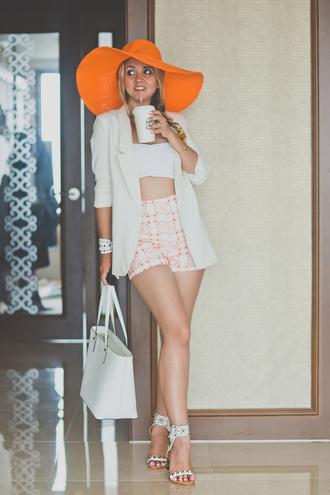 my blonde gal jacket bag hat top shorts shoes