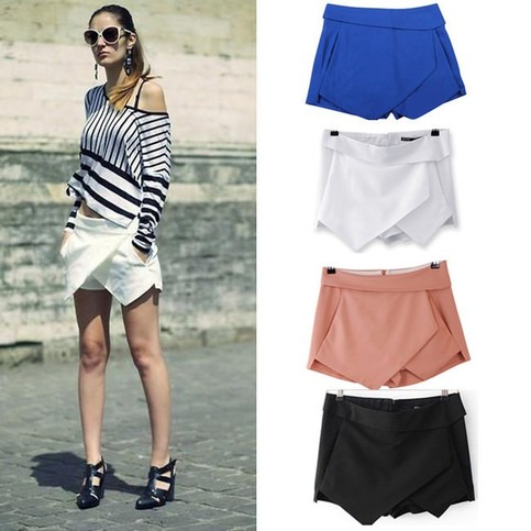 Outletpad   Tiered Shorts Irregular Zipper Trousers Culottes Short Skirt   Online Store Powered by Storenvy