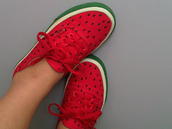 shoes,cute,vans,watermelon print,fruits,street,original,funny,swag,fashion,girl,girly,earphones,watermelon tennis shoes,indie,hipster,red,green,shorts,whatermelon,whatermelonvans