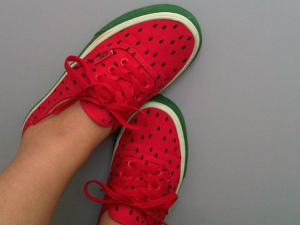 shoes cute vans watermelon print fruits fruits street original funny swag fashion girl girly earphones watermelon tennis shoes indie hipster red green shorts whatermelon whatermelonvans