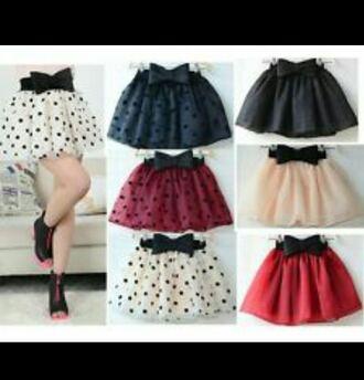 polka dots bows perfect cute skirts tutu dress bow skirts please help me!