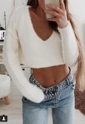 sweater,cream cropped v neck sweater
