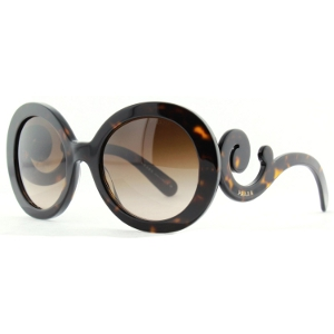 Prada Havana Baroque Swirl Arms Sunglasses - Sale