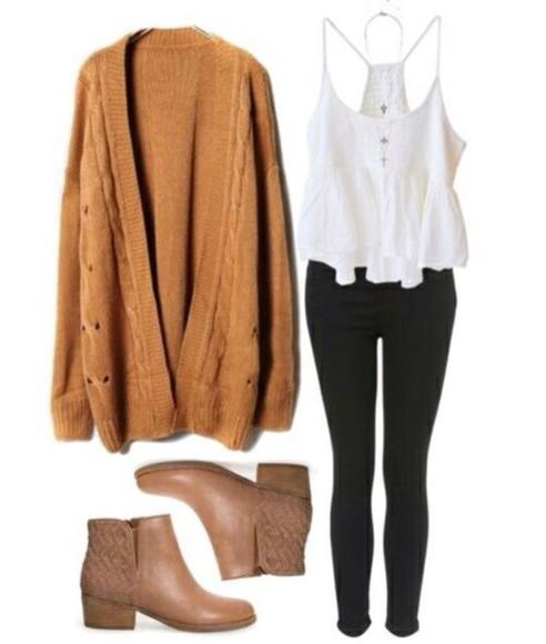 cardigan brown dress fashion autumn colours autumn fasion mustard