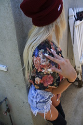hat,beanie,burgundy,shorts,blouse,underwear,shirt,t-shirt,floral t shirt,denim shorts,sweater,flowers,crop tops,blue jean shorts,knee high socks,blonde hair,tank top,flowery top,floral dress,floral,floral tank top,red spiked hats,cut off shorts,high waisted denim shorts,clothes,hipster,girl,pants,lovely,tumblr girl,swag,coat,jacket,old fashioned,red,red beanie,crop,High waisted shorts,top,floral shirt,summer,flower shirt,flower blouse