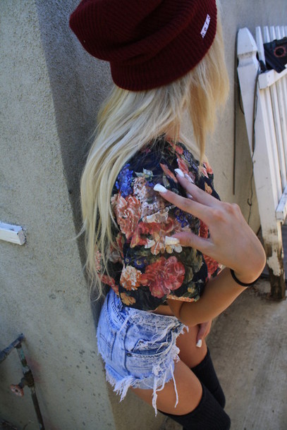 hat beanie burgundy shorts blouse underwear shirt tank top flowery top flowery dress flowery floral tank top bordeaux red spiked hats cut off shorts high-wasted denim shorts coat floral jacket old fashioned red red beanie