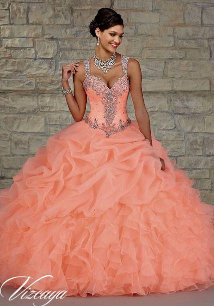 dress prom dress prom gown sparkly dress necklace peach dress glitter dress coral dress peach ball gown ball gown dress gown peach