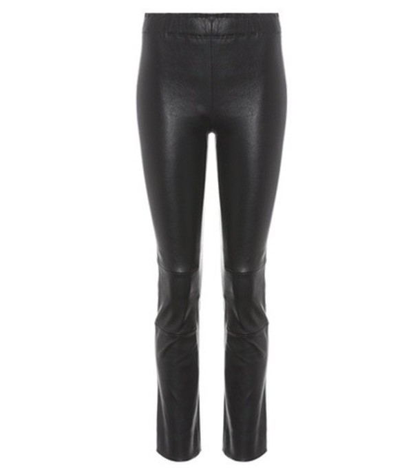 Stouls Maria Rosa cropped leather trousers in black