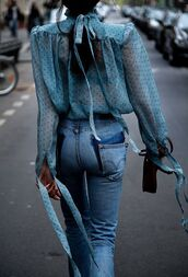 blouse,blue top,polka dots,straight jeans,spring outfits,hair bow,cute outfits,ponytail