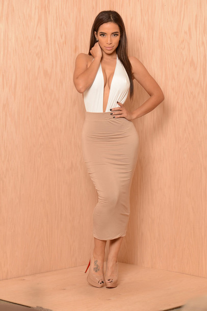 83d106b7eebb dress white beige v neck dress v neck beige dress white dress classy plunge  v neck