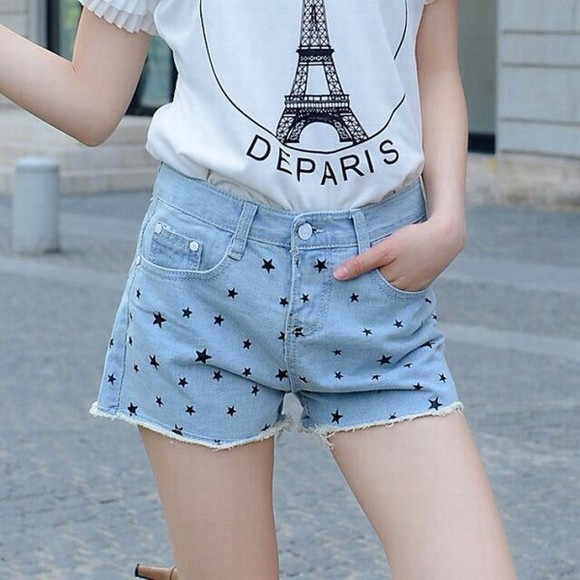 eiffel tower eiffel towers paris t-shirt tour eiffel tshirt white tshirt tank top crop tops shorts