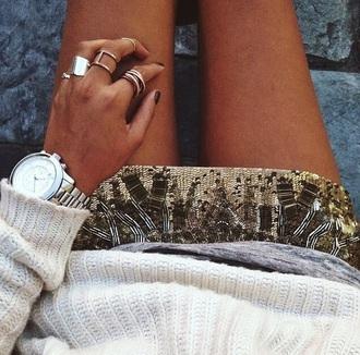 skirt sequins gold embellished boho bead-embellished
