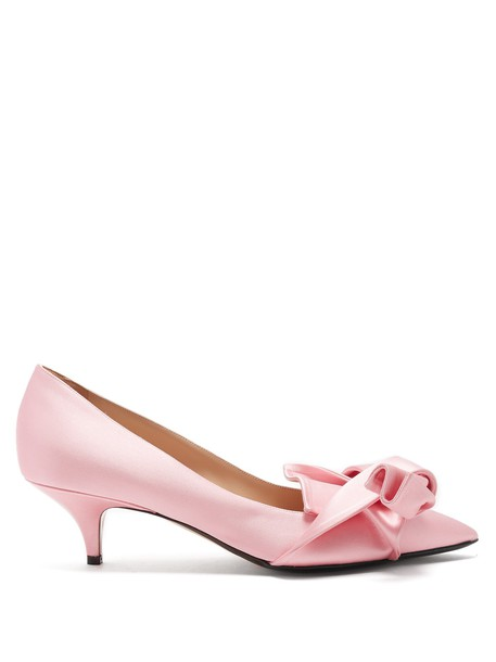 No. 21 bow pumps satin pink shoes