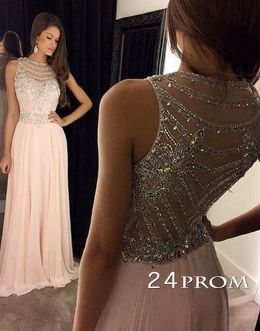 4f9fd001d3 Light Pink Chiffon Sequin Long Prom Dresses