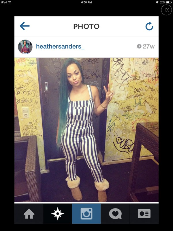 shoes jumpsuit boots heather sanders style green hair