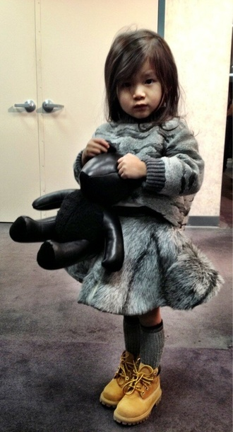 girl fashion kids cute leather girly toddler fashion kids fashion kids clothes gray timberlands aila wang grey fur sweater winter sweater grey sweater stuffed animal socks skater skirt love