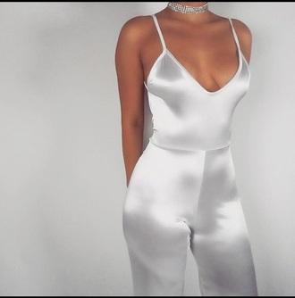 jumpsuit silk chiclook closet cute flawless fashion silky grey fashionista