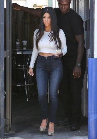jeans denim skinny jeans kourtney kardashian crop tops top long sleeves