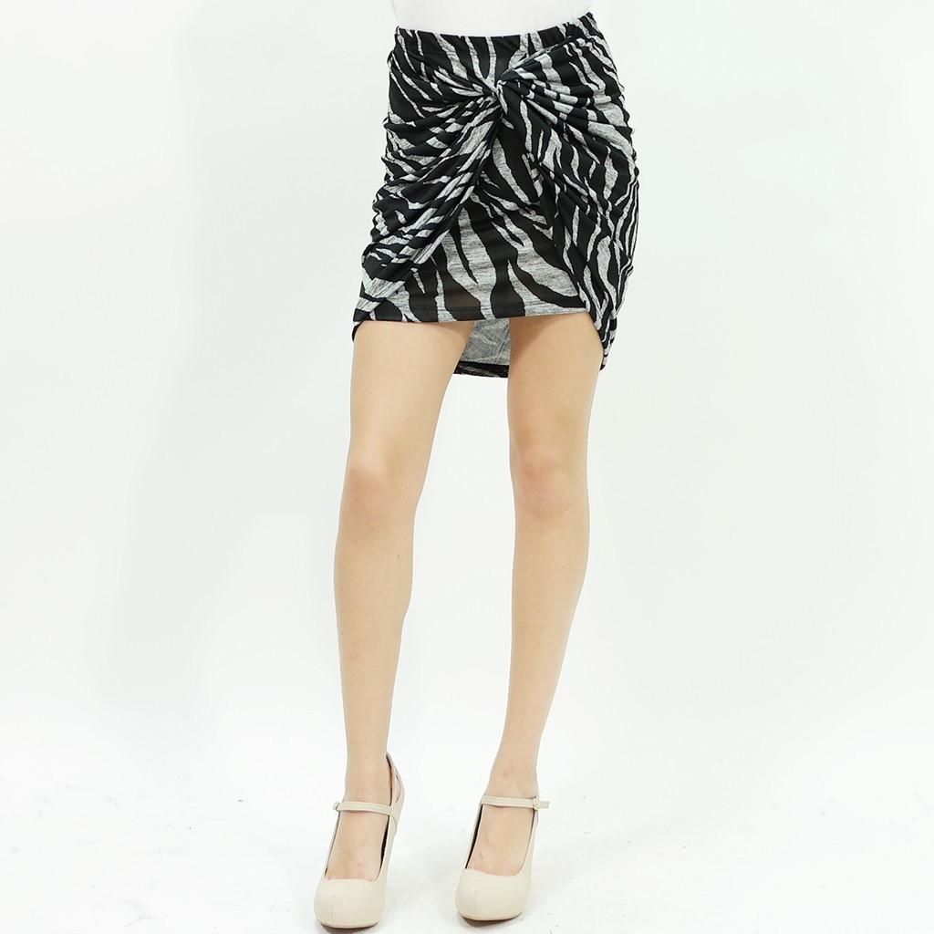 Zebra print knot detailed bodycon mini skirt