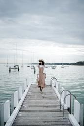 olivia lazuardy,blogger,hat,sunglasses,dress,bag,shoes,felt hat,spring outfits,white blouse,beige dress,blouse