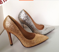 40 2014 newest sexy ladies pointed toe thin red bottom high heels women pumps glitter silver gold stilettos woman shoes 8