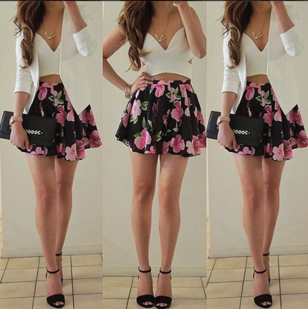 skirt tank top jacket floral floral skirt bustier white bustier white blazer shirt dress shoes floral skirt floral dress crop tops classy blazer cute dress top blouse black skirt white white top clothes outfit white crop tops v neck dress floral dress fashion style black flowers comment nice