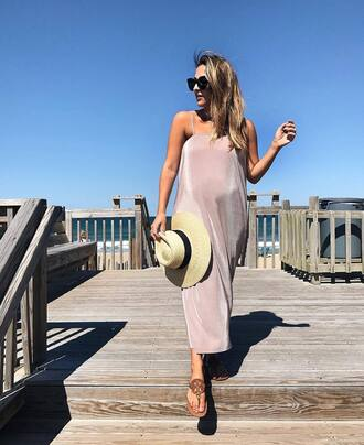 dress hat tumblr midi dress pink dress slip dress sandals slide shoes sun hat sunglasses shoes