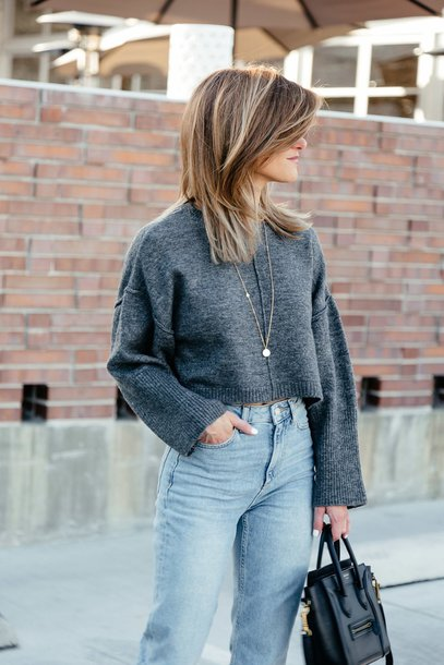 sweater tumblr grey sweater cropped sweater cropped denim jeans blue jeans necklace