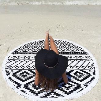 scarf round beach towel beach towel beach summer aztec hat black hat sun hat