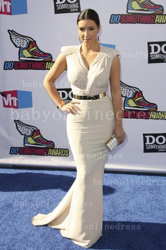 dress kim kim white dress kim kardashian dress belt gold belt