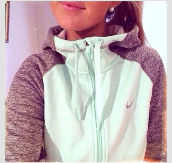 jacket mint grey nike cute sportswear hoodie fitness mintgreen gray t-shirts cute dress t-shirt