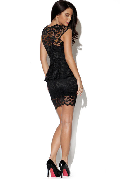 bodycon dress black peplum peplum dress lace dress