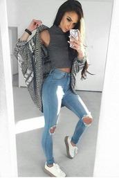 sweater,cardigan,grey,grey sweater,grey cardigan,turtleneck,crop tops,jeans,denim,light washed denim,jeans with rips