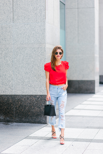 ashlee frazier blogger shirt pants shoes sunglasses make-up bag sandals red top handbag ripped jeans