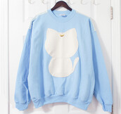 sweater,k fashion,coat,kawaii,japanese,fashions,style,fur,fluffy,gorgeous,cozy,warm fabric,jacket,jumper,white,oversized sweater,light blue,korean fashion,light,moon,cats,sweatshirt,etsy,sailor moon,blue
