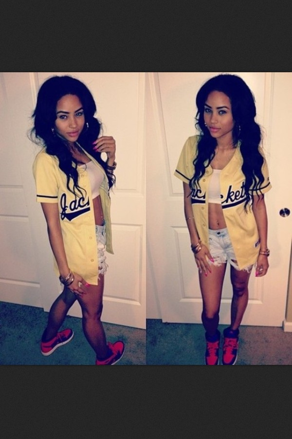 jacket shorts yellow jacket black red jordans white crop tops