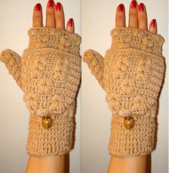 crochet girl women beige ivory gloves brovn fingerless brown gloves button fingerless button gloves crochet fingerless