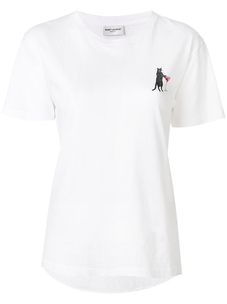 Saint Laurent t-shirt shirt printed t-shirt t-shirt women white cotton top