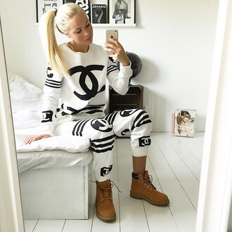 pants coco sweater chanel black and white timberland jumpsuit dress sweater