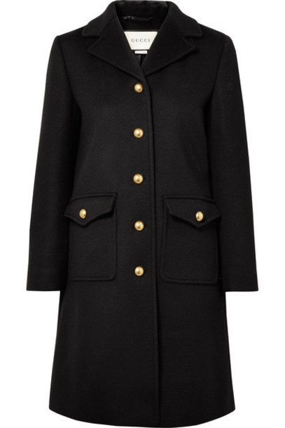 gucci coat wool coat embellished black wool
