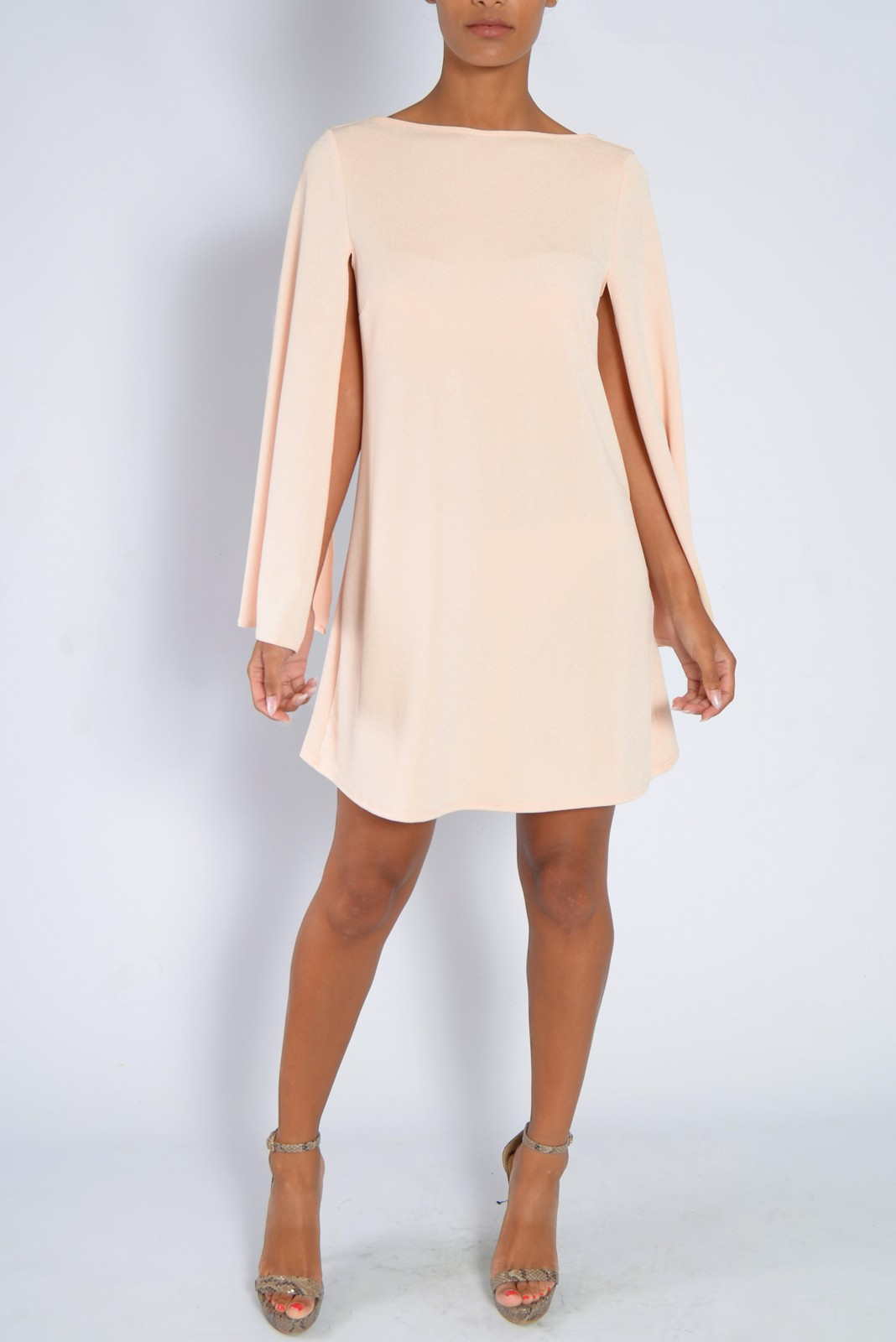 Blush Pink Cape Sleeve Shift Dress From Rare London